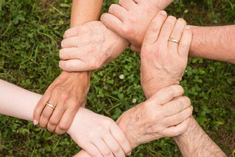 Team Hände auf Gras
